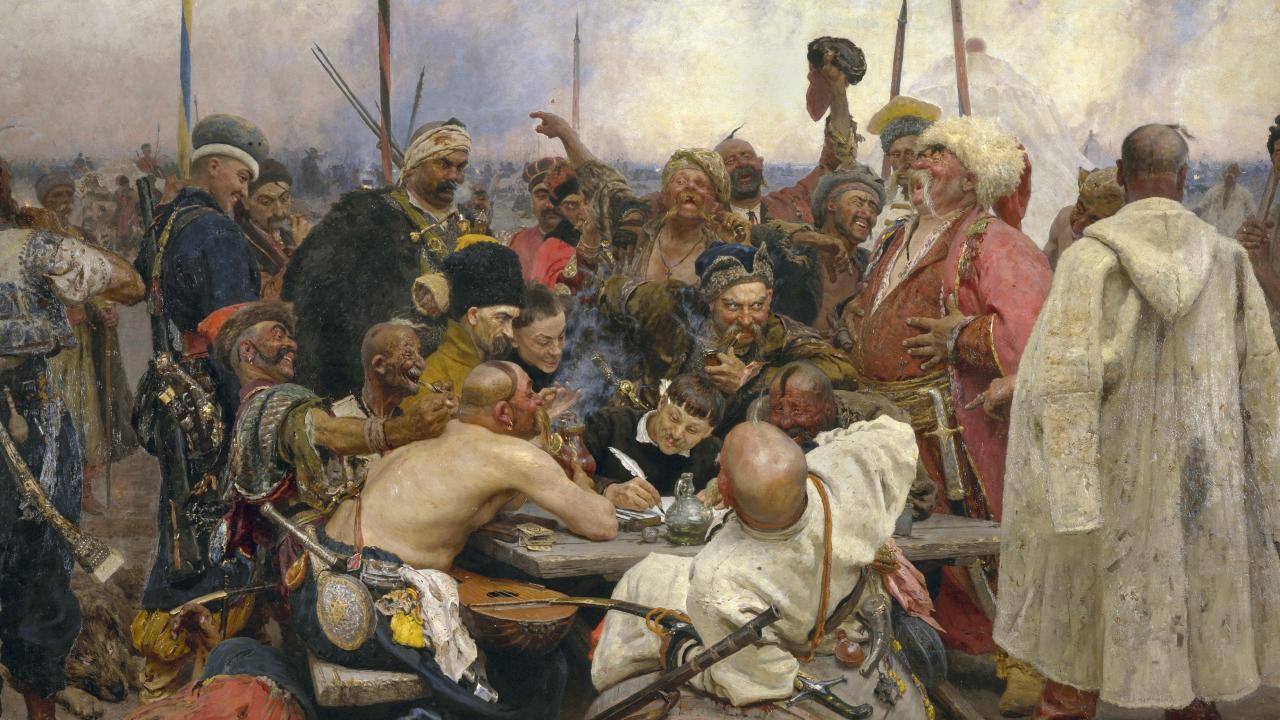 Reply of the Zaporozhian Cossacks to Sultan Mehmed IV. Ilya Repin, 1891