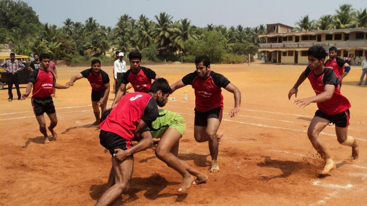 Playing kabaddi