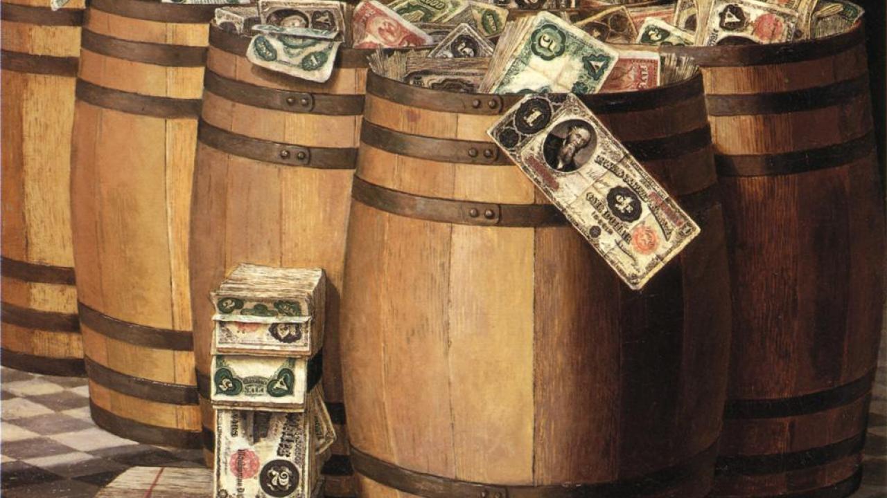 Victor Dubreuil (1880-1910) Barrels of Money